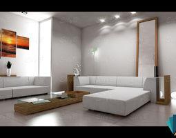 indoors 3D Modern Living Room