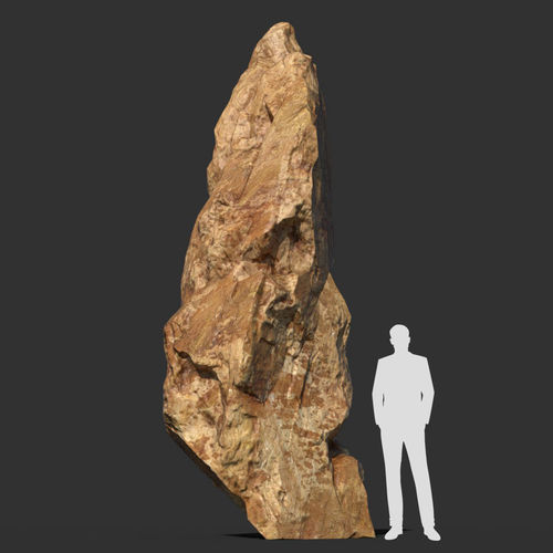 low poly sharp blocky yellow rock formation 6 - 181113 3d model low-poly max obj mtl 3ds fbx dae 1