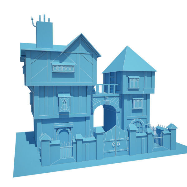Town Home Kitchen Models Pictures: 3D Model Medieval Building 04 Townhouse VR / AR / Low-poly