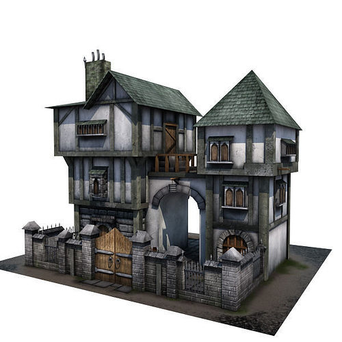 3d asset medieval building 04 townhouse cgtrader for Models of homes to build