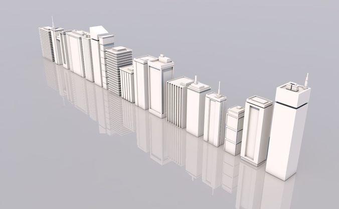 skyscraper city 3d model low-poly obj mtl 3ds fbx c4d dae 1