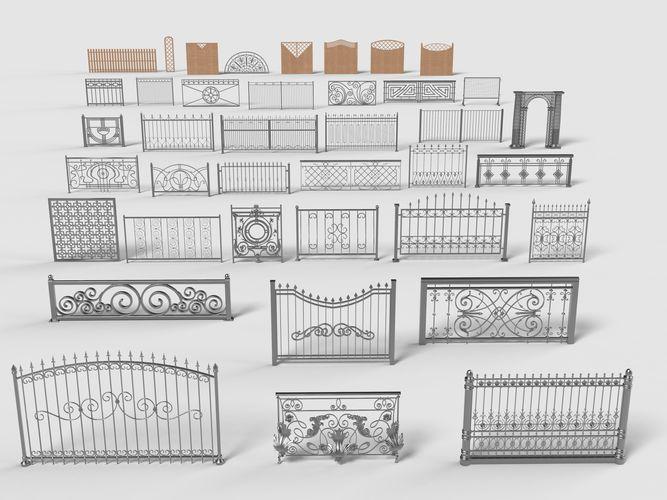 fences - 39 pieces - collection-4 3d model max obj mtl fbx stl 1