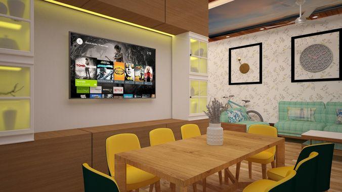 Full Interior Living Room Bedroom Kitchen Dining 3d Model Max Obj Mtl 3ds Dwg Pdf