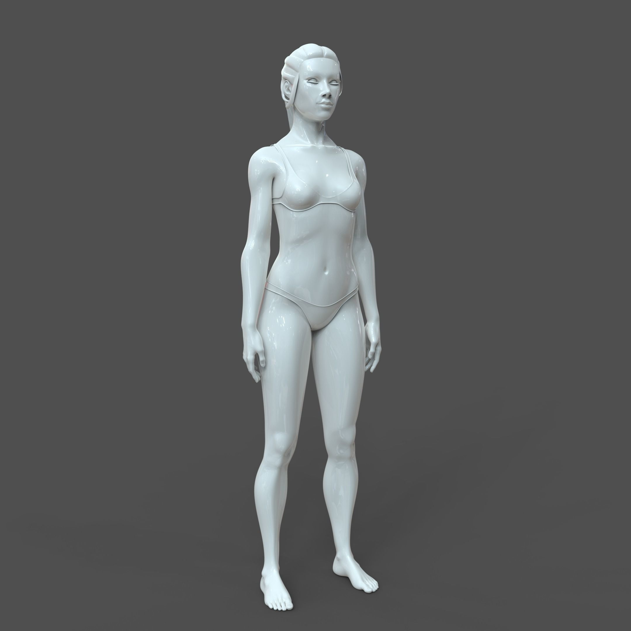 CAD-friendly Young Female Model F4P2D0V1
