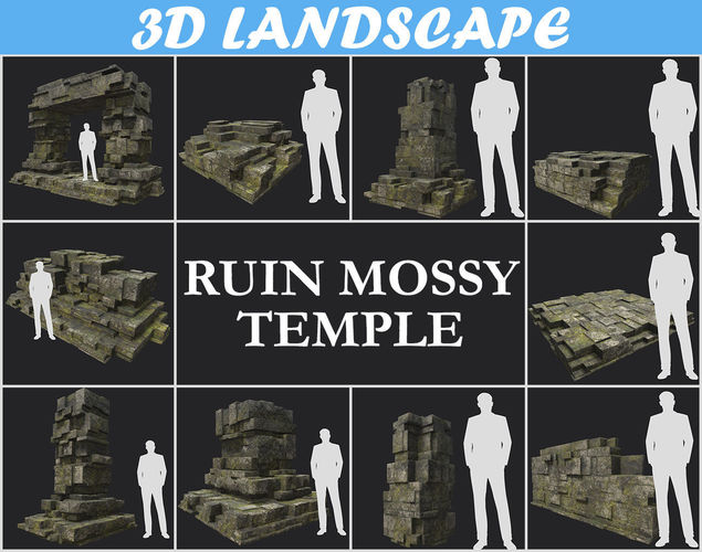 low poly mossy ruin temple block pack 181116 3d model max obj mtl 3ds fbx dae 1