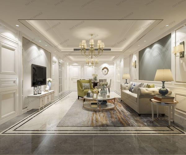 Modern European Clic Living Room With Tv Model Max S Fbx 1