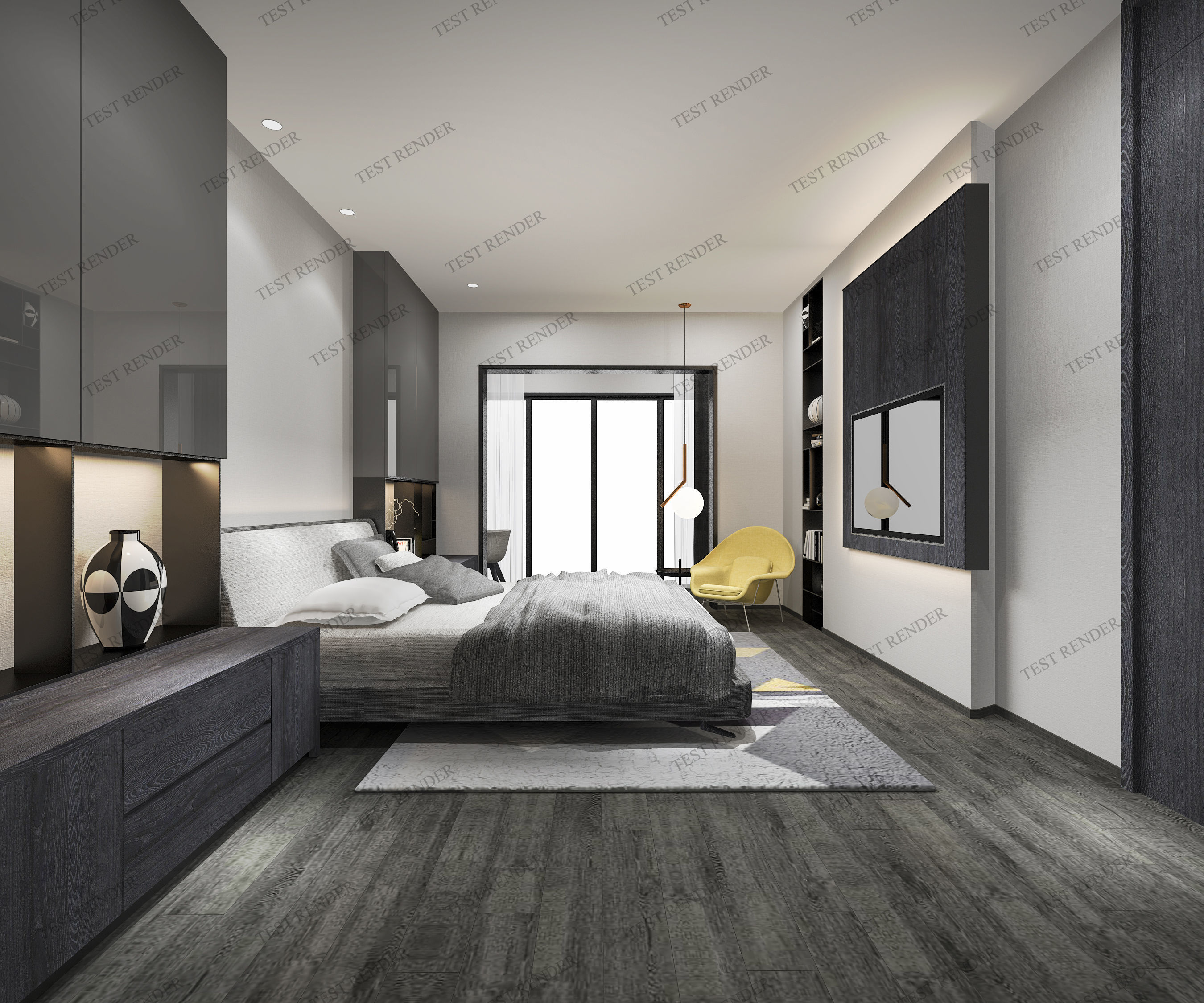 Luxury Modern Bedroom Suite In Hotel With Tv Furniture 3D