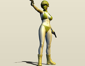 Girl with two pistols 3D printable model