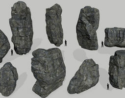 3D model cliff rocks set