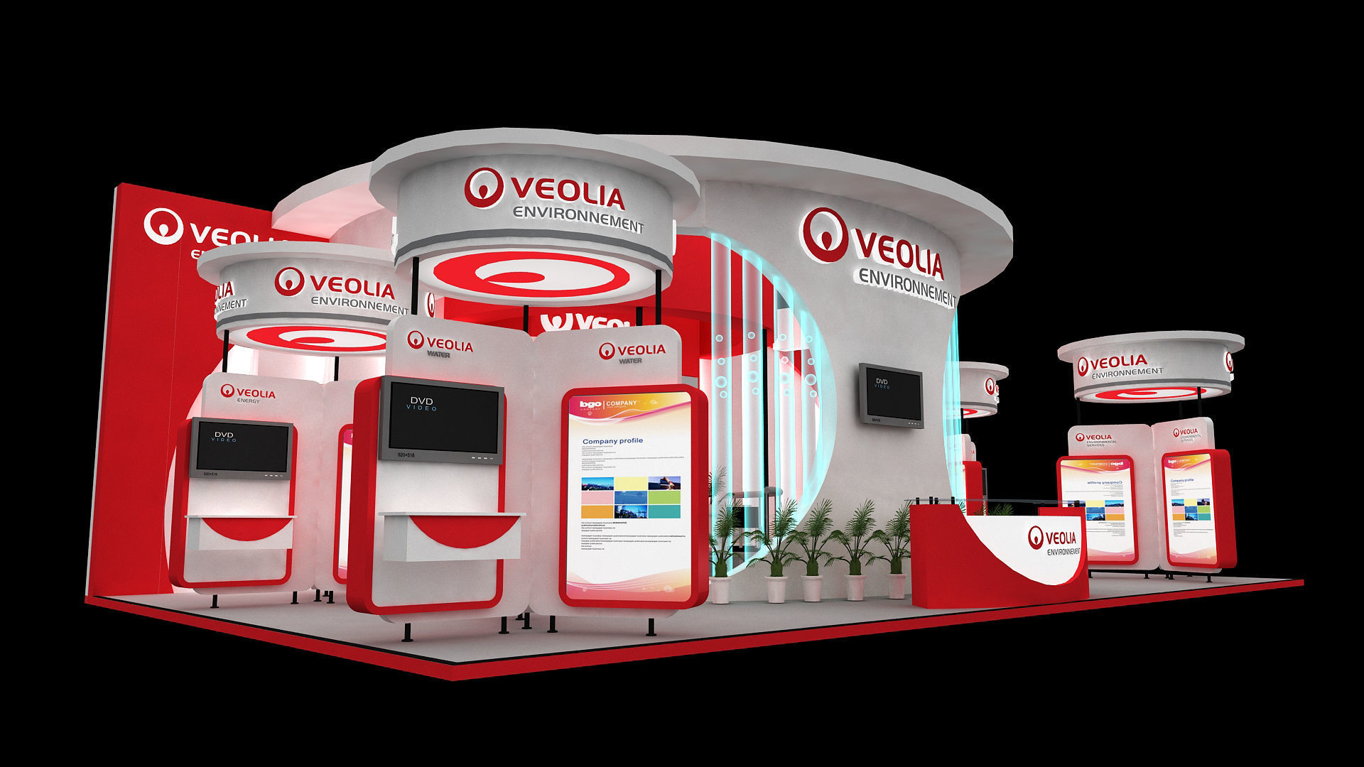 Exhibition stand 13x7 mtr 3 sides open   3D model