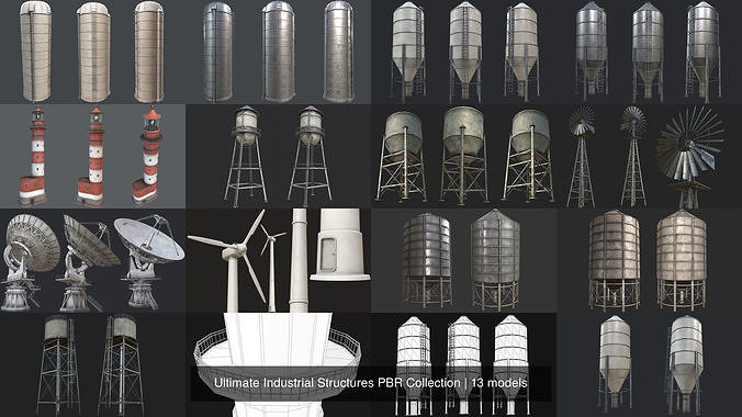 ultimate industrial structures pbr collection 3d model max obj mtl 3ds fbx dae tga 1