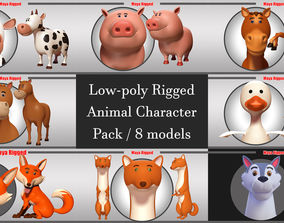 3D model Low-poly Rigged Animal Character Pack