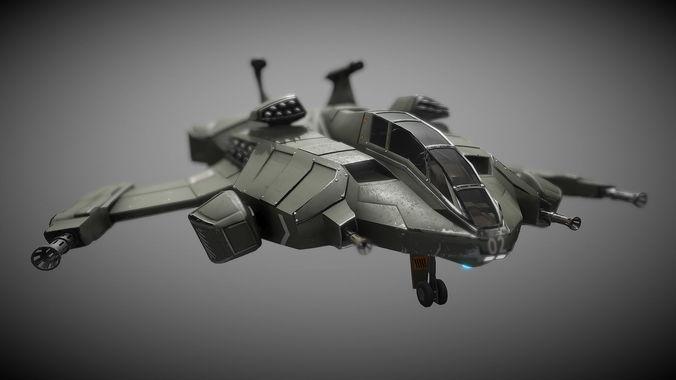 Sci-fi Futuristic Heavy Assault Fighter