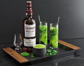 3D model Matcha Cocktail Set