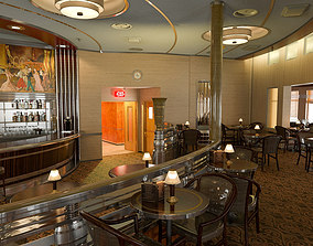 Restaurant Cafe Bar interior scene 3D