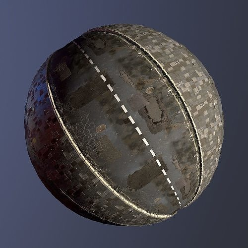 realistic streed road pbr texture - seamless 3d model  1