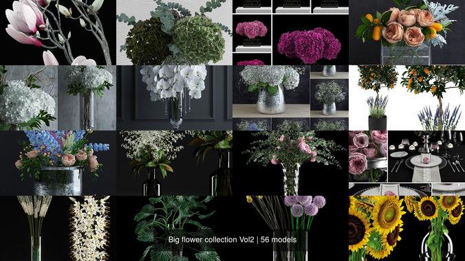 big flower collection vol2 3d model max obj mtl 3ds fbx dxf dwg 1