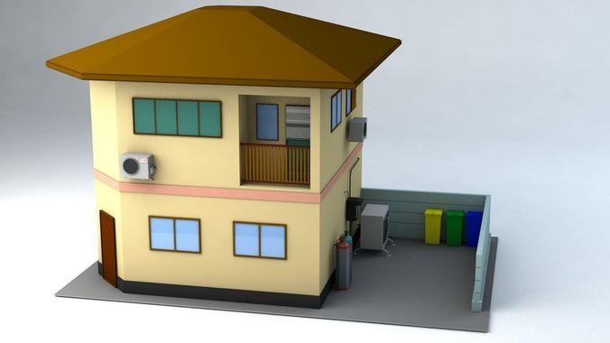 japanese suburban rural house 1 game ready 3d model obj mtl fbx c4d blend dae 1