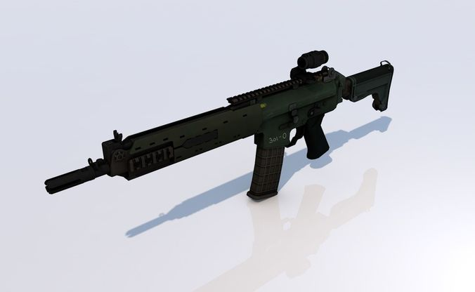 ak5c rifle 3d model low-poly obj mtl 3ds fbx c4d dae 1