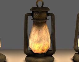 3D asset Old Steel Lantern Textured