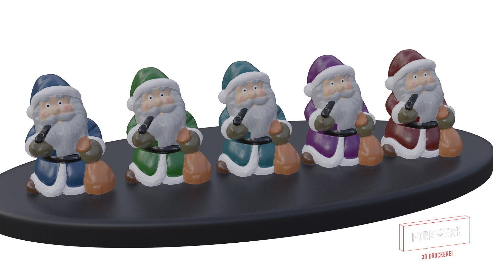 Multicolor Pack of cute Santa claus   LowPoly