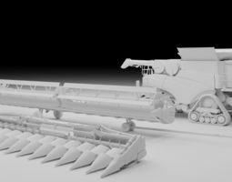 3D model Harvester with tools