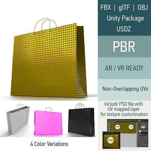 Shopping Bag - 4 material variations | 3D model