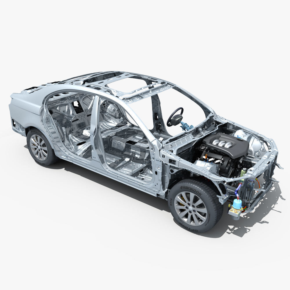 Car Frame with Chassis Engine 01