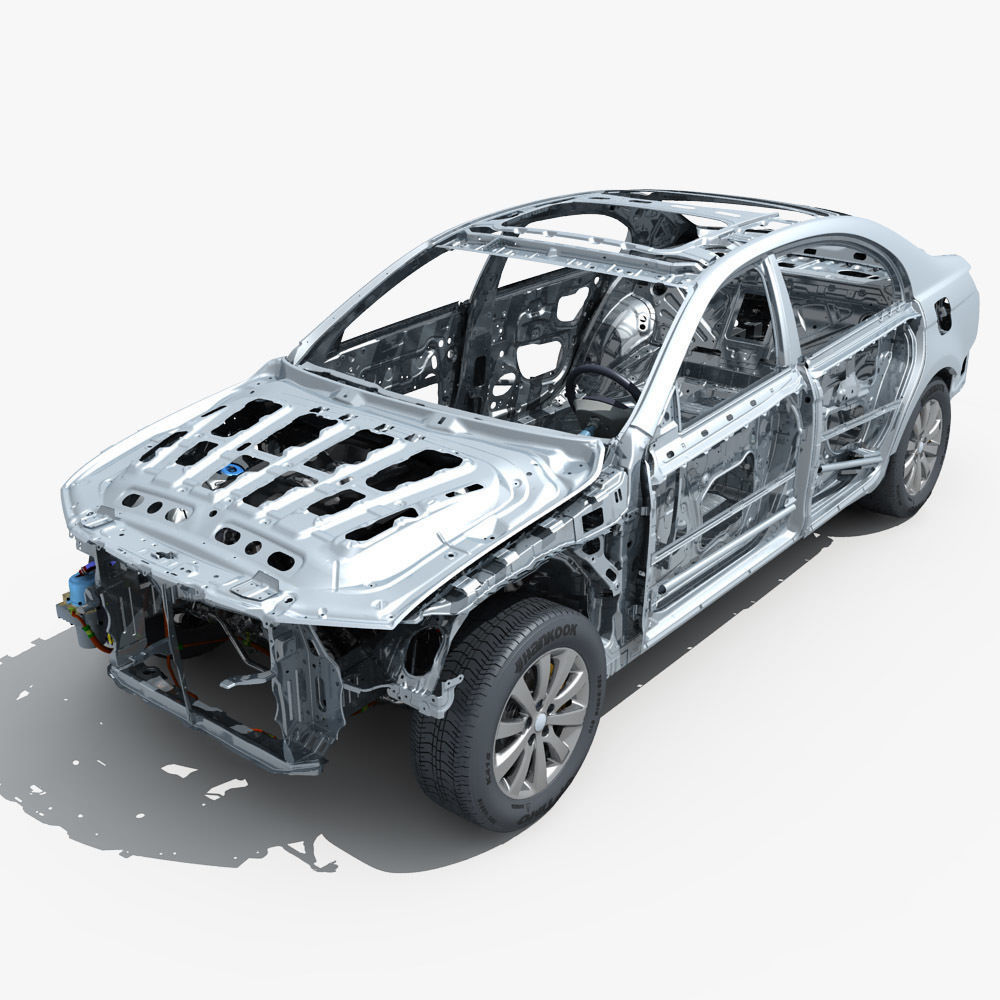 Car Frame with Chassis Engine 02
