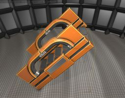 Futuristic Stairs - 3 - Orange 3D model