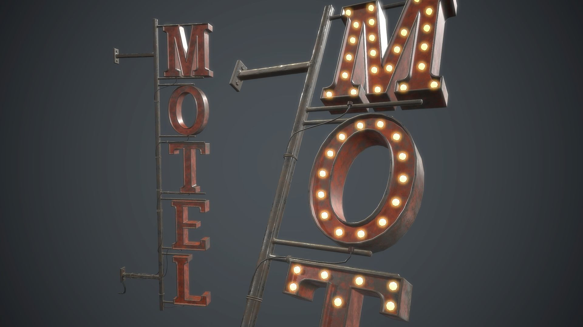 Old Metal Motel Sign PBR Game Ready