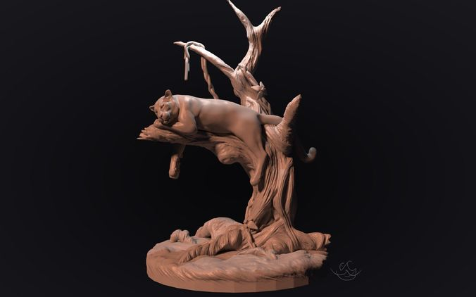 panther on a tree for 3d printing 3d model stl 1