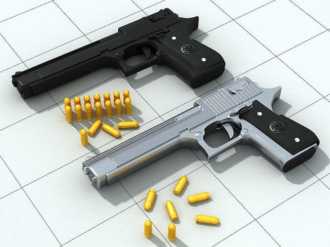 3d pistolet print model 3d model max obj mtl 3ds fbx 1