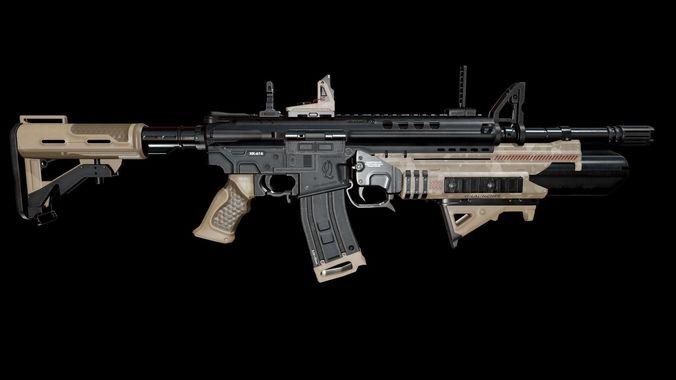 modern assault rifle 3d model obj mtl fbx blend tga 1