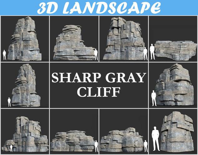 low poly blocky cliff rock gray color pack 181122 3d model max obj mtl 3ds fbx dae 1