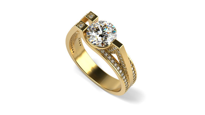 pave many raws engagement ring 3d model stl 1