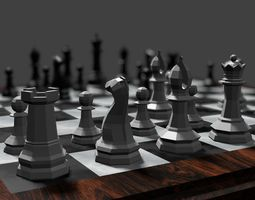 Chess Scene 3D asset low-poly