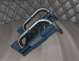 3D asset Sci-Fi Stairs - 2 - Blue Version