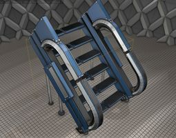 3D asset Sci-Fi Stairs - 4 - Blue Version
