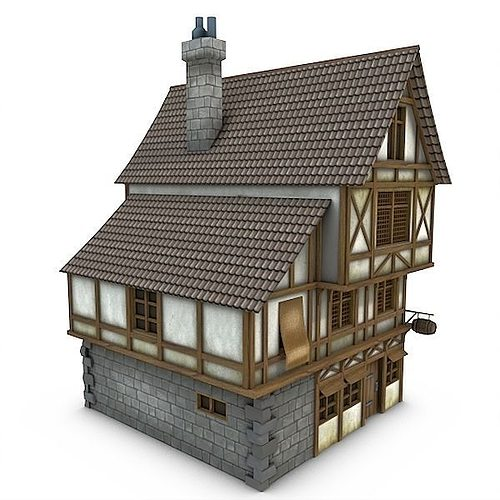 Medieval building 21 tavern 3d model cgtrader for Exterior 3d model