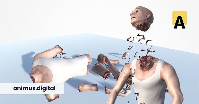 ragdoll dismemberment system for unity3d 3d model unitypackage prefab 1