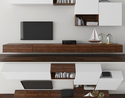 3D asset low-poly Tv stand tv