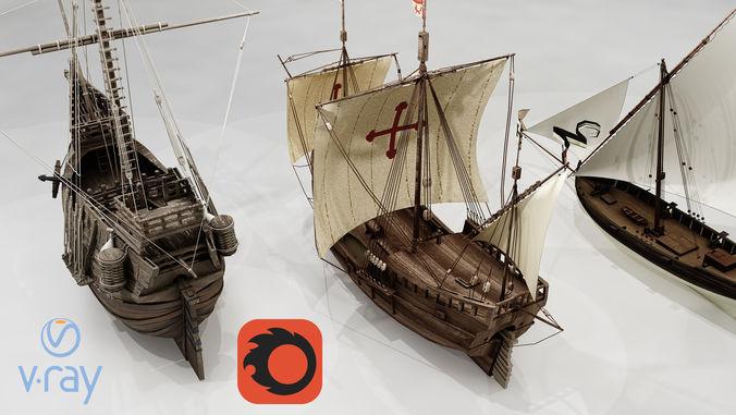 three classic ships 3d model low-poly max obj mtl fbx 1