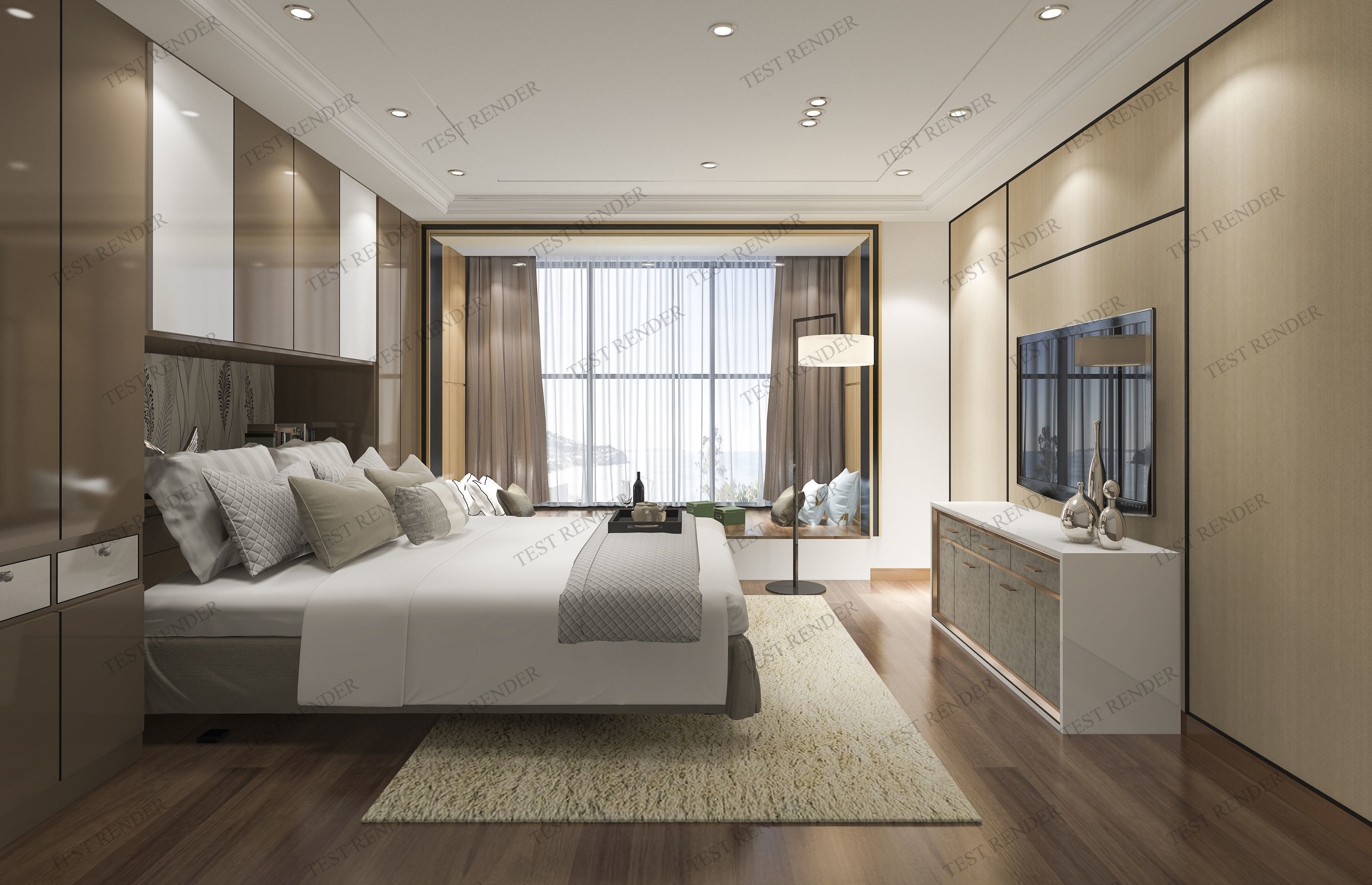 luxury modern bedroom suite in hotel with chinese style 3D