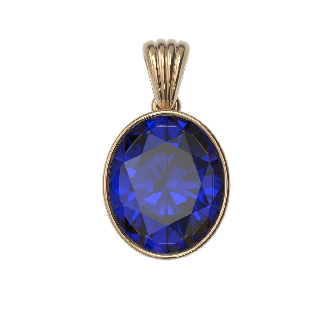 Classic Pendant Necklaces Gold Silver  Bezel Oval 12x10