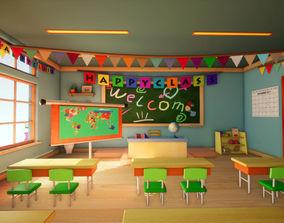 3d Class room - 3D model for Cartoons