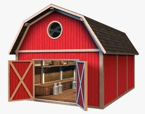 Barn with interior 3D model game-ready