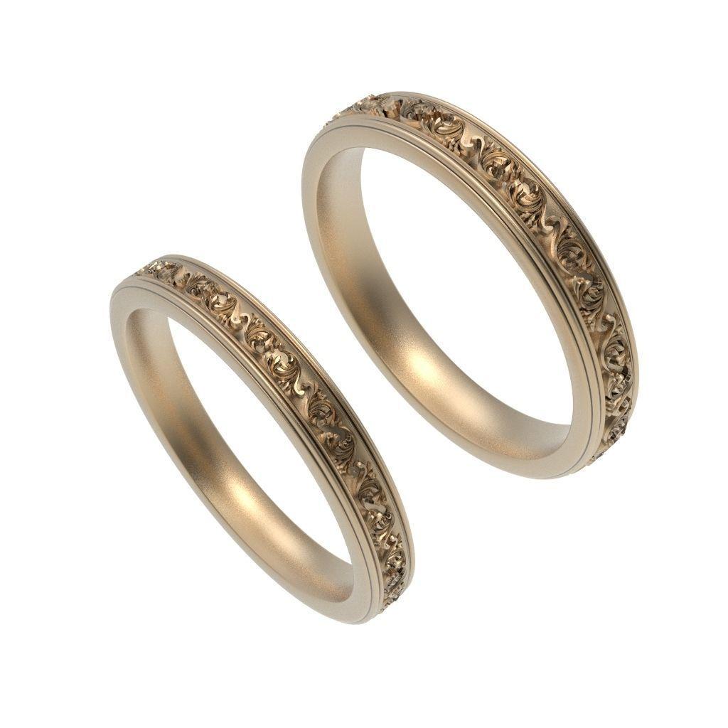 Wedding Rings For Men.Gold Wedding Rings Men Women 3d Print Model 3d Print Model