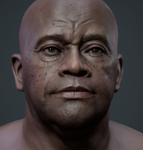 Realistic black male real-time head
