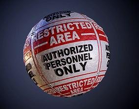 Metal Restricted Area Warning Danger Sign Seamless PBR 3D